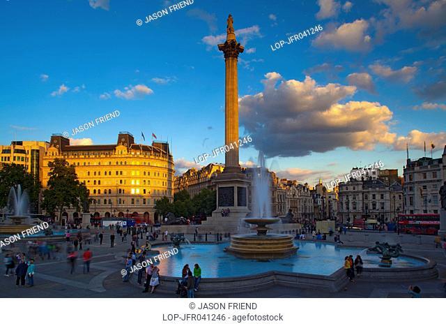 England, London, Trafalgar Square. Nelson's Column and fountains in Trafalgar Square, one of London's most popular tourist destinations