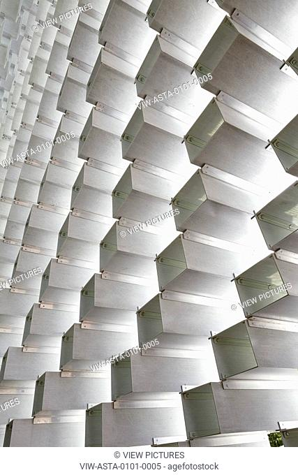 Abstract of the stacking fibreglass boxes looking up. SERPENTINE PAVILION 2016, London, United Kingdom. Architect: BIG / BJARKE INGELS GROUP, 2016