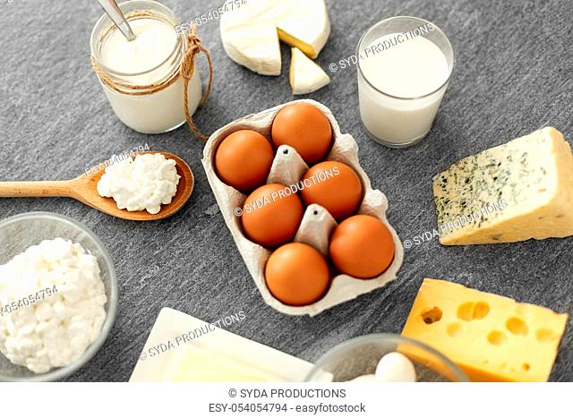 milk, yogurt, eggs, cottage cheese and butter