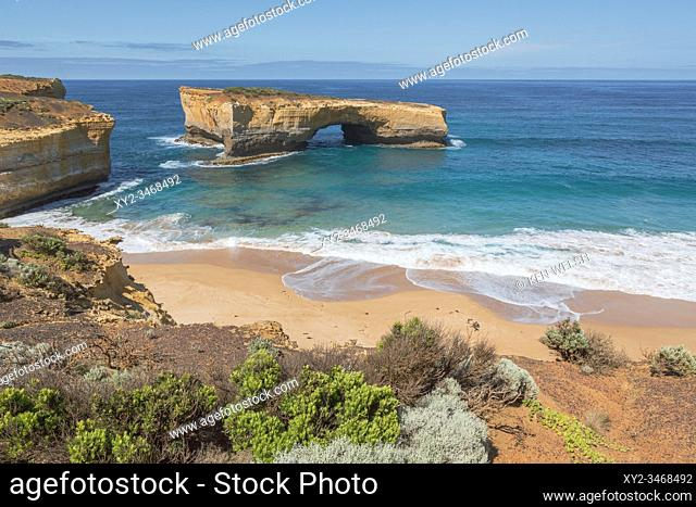 London Arch in the Port Campbell National Park, Great Ocean Road, Victoria, Australia. The landmark was formally known as London Bridge