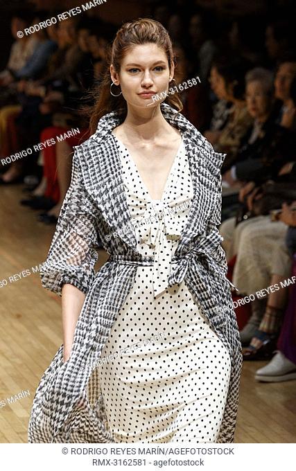 October 16, 2018, Tokyo, Japan - A model wearing fashion brand Yuki Torii International walks down the catwalk during the Amazon Fashion Week TOKYO 2019 S/S...