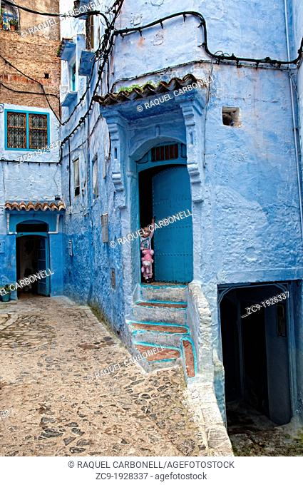 Blue houses in the medina of Chefchaouen Rif region, Morocco