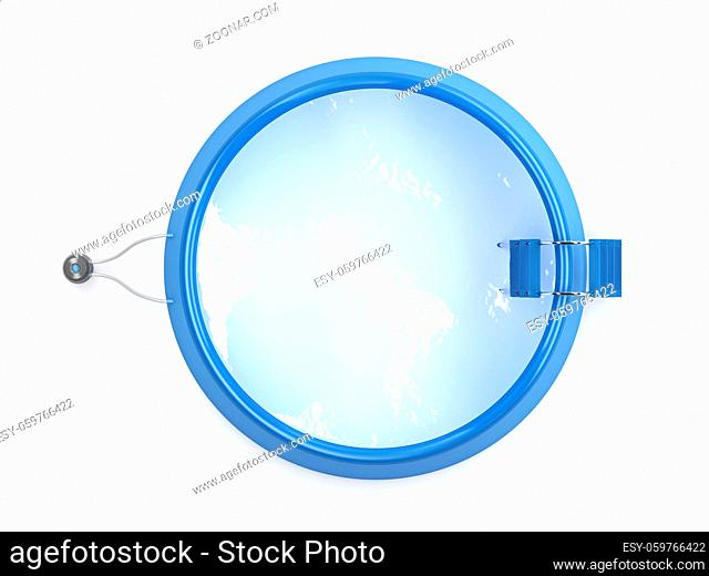 Top view of inflatable swimming pool on white background