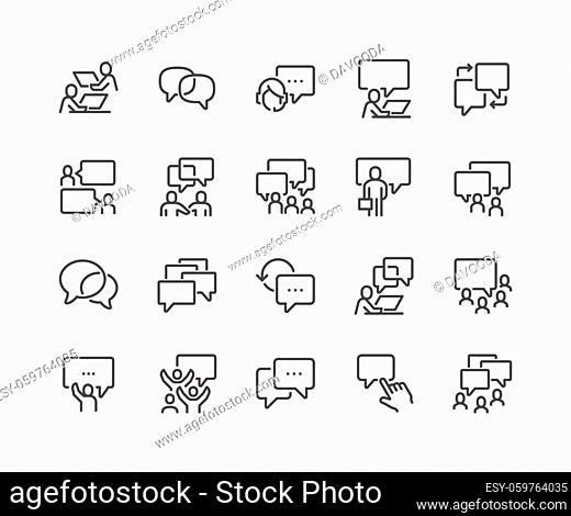 Simple Set of Business Communication Related Vector Line Icons. Contains such Icons as Meeting, Conference Call, Agreement, Chat and more