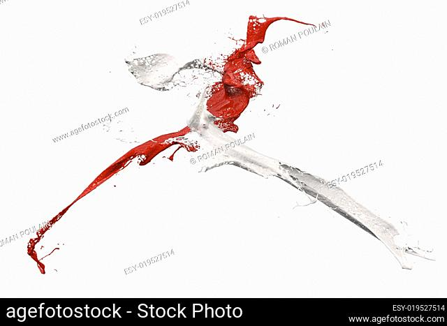 splashing paint in white and red