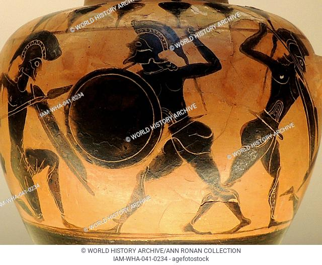 Small Black figured Hydra (Water Jar), depicting warriors fighting. Greco-Italian made in Italy 550-540 BC