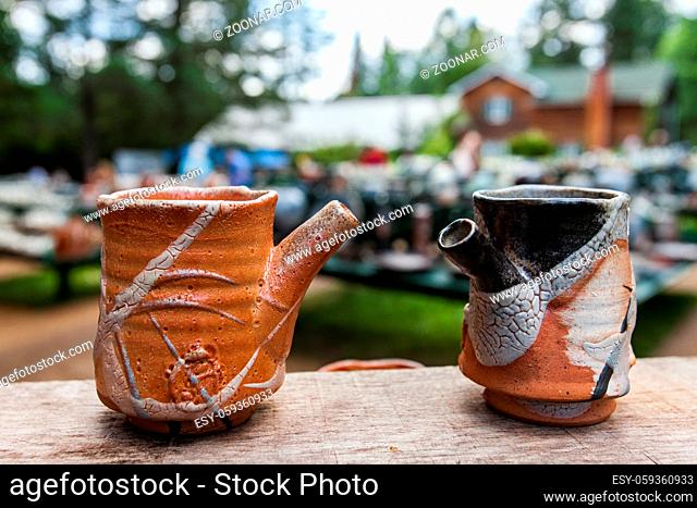 Pictures outside at an pottery exhibition. Close-up picture taken on a beautiful summer day