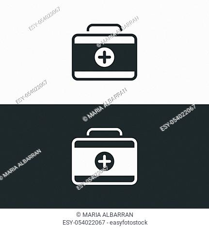 First aid case icon. Emergency medical equipment. Pharmacy vector illustration