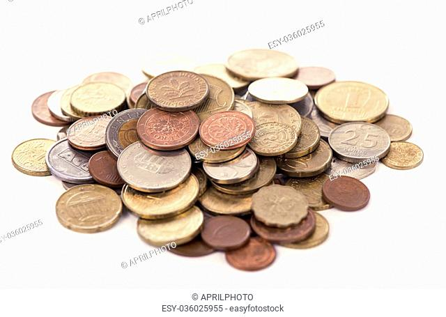 Collection of the coins on the white background