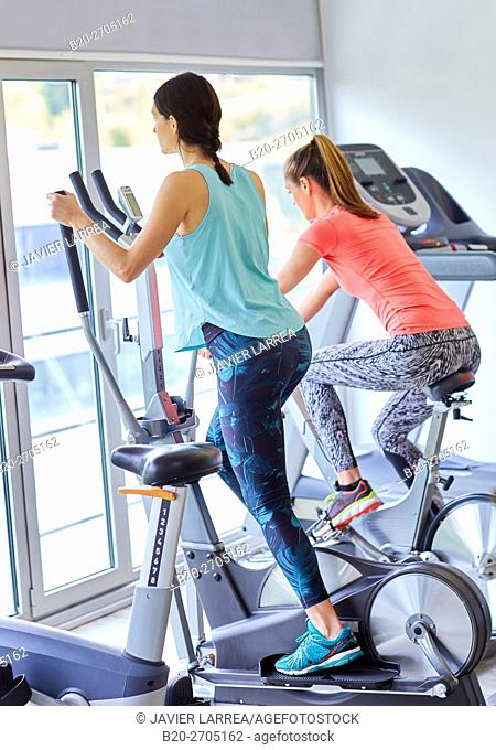 Women training in gym, Elliptical bike