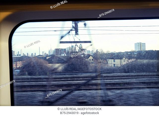 View from a moving train. Newham, East London, England