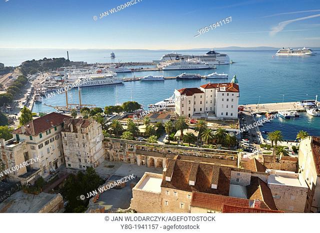 Croatia - Split, aerial view of ferry port in Split, Dalmatia, Croatia
