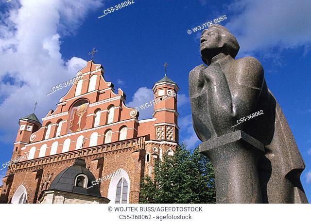 Statue of Adam Mickiewicz. St. Anne's Church. Vilnius. Lithuania