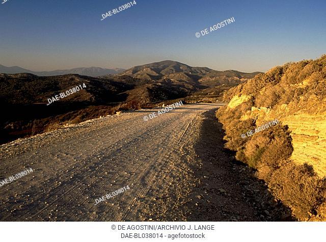 A dirt road near Apolakkia, Rhodes island, Greece