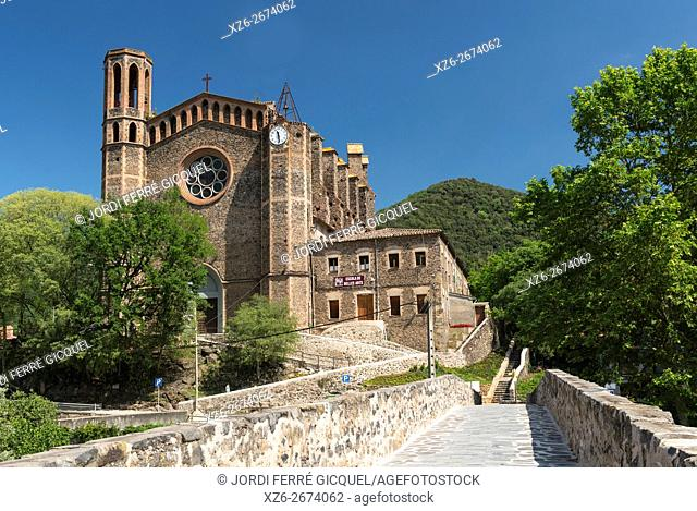 The church of Sant Joan les Fonts, Catalonia, Spain, Europe