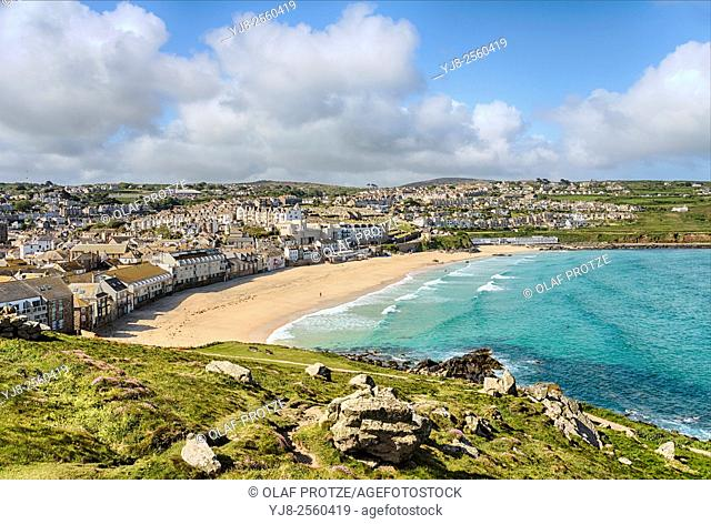 View at Porthmeor Beach seen from the Island Peninsula, St Ives, Cornwall, England, UK