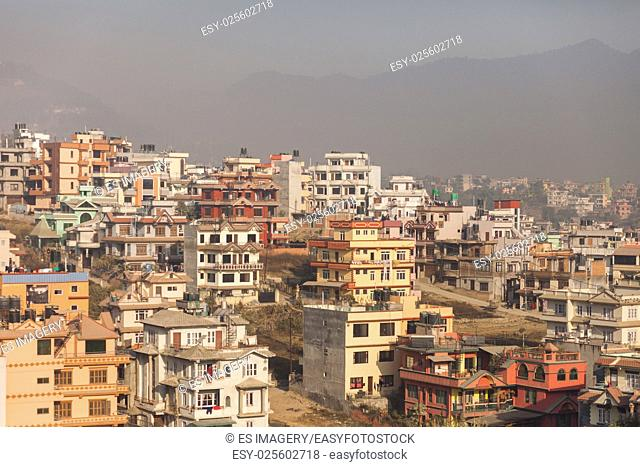 View over the Kathmandu suburbs on a hazy afternoon, Nepal