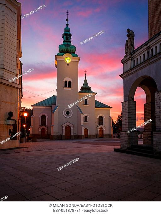 Church in the main square of Ruzomberok, Slovakia
