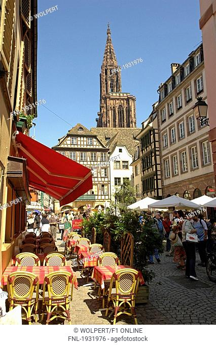 Tourists in city market, Strasbourg, France