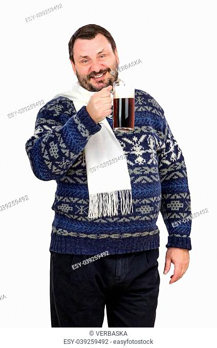 Fat man is holding ale pint and invites to the pub on white background