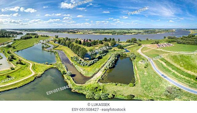 Aerial view of historic Castle Loevestein, Poederoijen - Holland - Netherlands