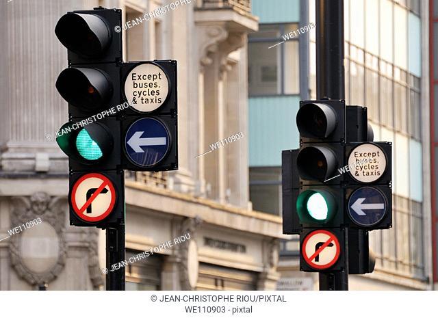 Traffic lights in London, England, UK
