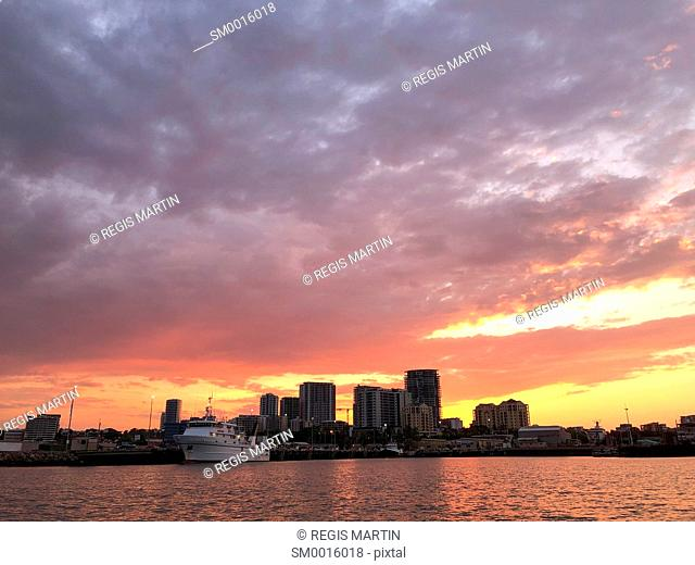 Darwin City skyline at sunset. Darwin is the capital of the Northern Territory of Australia