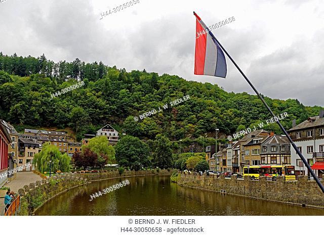River, Ourthe, house line, bank promenade, local view, La Smelling Roche-en-Ardenne Belgium