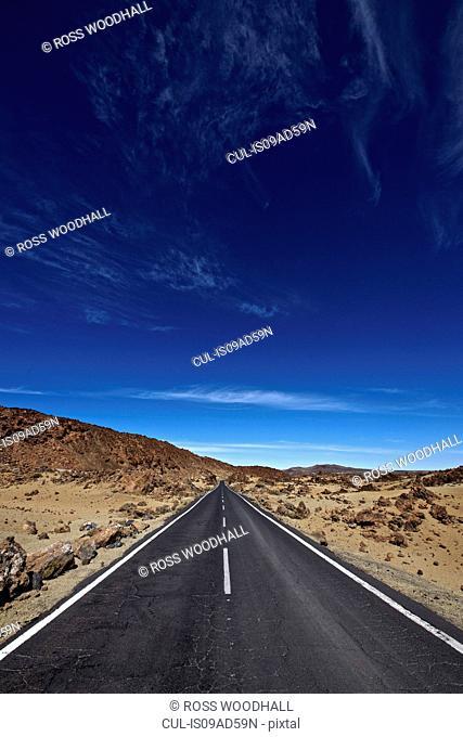 Empty road, Mount Teide, Tenerife, Canary Islands, Spain