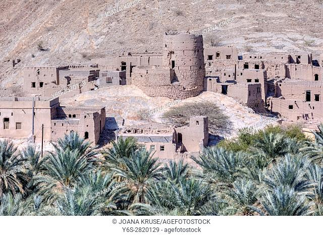 abandoned ancient village close to Nizwa, Oman, Middle East, Asia