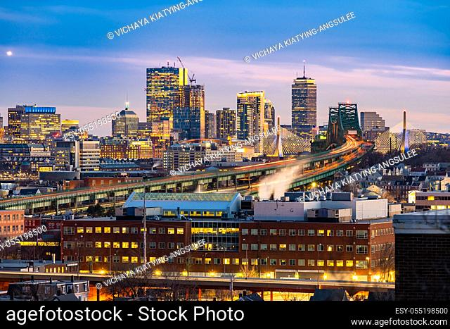Boston Cityscape with highway trail to Boston MA USA at night