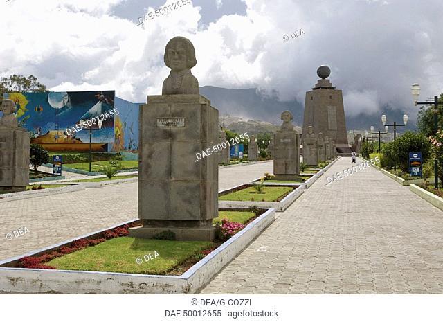 Ecuador - Pichincha Province - Quito. UNESCO World Heritage List, 1978. 'Mitad del Mundo'; in the distance the monolith that marks the Equator