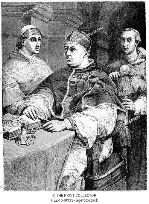 Pope Leo X (1475-1521), Giulio de' Medici (the future Pope Clement VII;1478-1534) and Cardinal de Rossi, 1882. Original held by the Pitti Palace