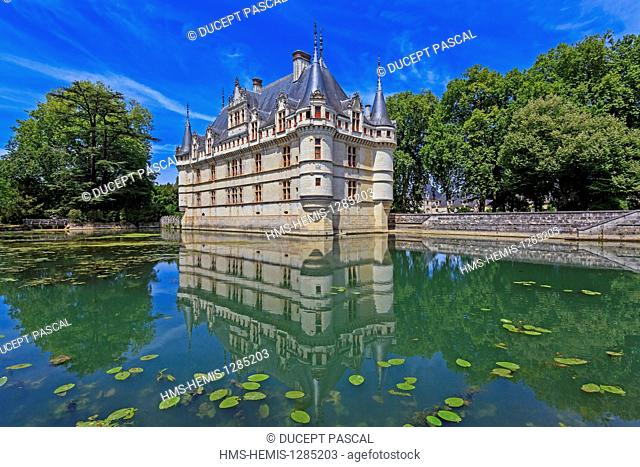 France, Indre et Loire, Loire Valley listed as World Heritage by UNESCO, Azay le Rideau castle