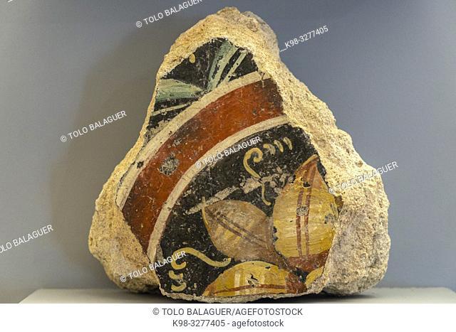 estuco pintado, Museo-Centro de Interpretación del parque arqueológico de Segóbriga, Saelices, Cuenca, Castilla-La Mancha, Spain