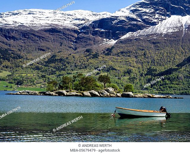 View over the Lustrafjord, the inner branch of the Sognefjord, near Dalsören, Solvorn, Sognefjord, Norway
