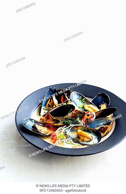 Coconut and lemongrass mussels with noodles