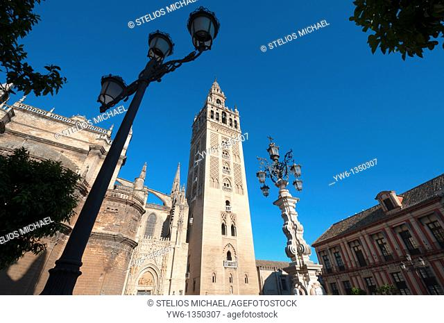 Giralda Cathedral from Plaza Virgen de los Reyes in central Seville,Spain