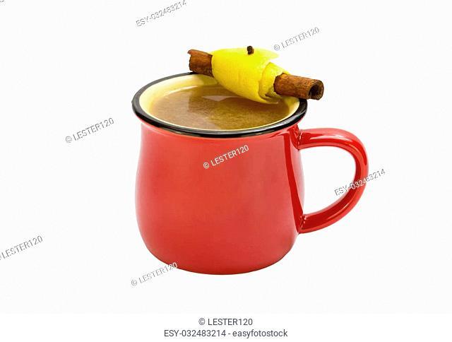 mug of hot mulled wine on a white background
