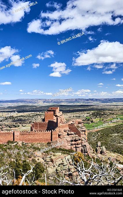 Peracense Castle in Menera mountain range. In the background Jiloca valley, Teruel province (region of Aragon, Spain)