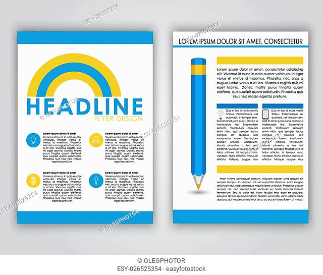 Design flyers, brochures, covers for advertising or web in a contemporary style. Placed on a white background icons, text and pencil. Business theme