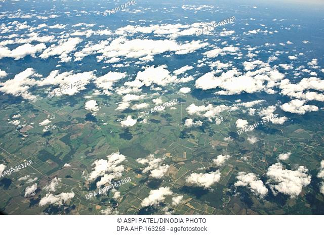 Aerial view of clouds and land over Queensland ; Australia
