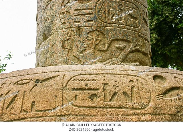 Egypt, Cairo, Heliopolis, the memorial column of the king Merenptah. Photo taken in 2007, before the column was dismantled. The plinth is in quartzite