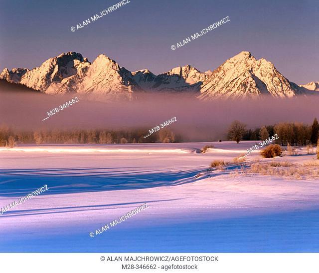 Winter sunrise over the Teton Range. Grand Teton National Park. Wyoming. USA