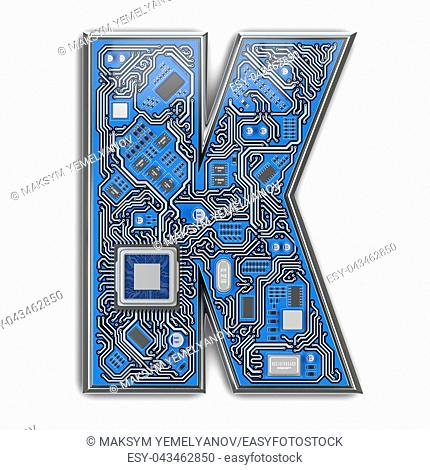 Letter K. Alphabet in circuit board style. Digital hi-tech letter isolated on white. 3d illustration