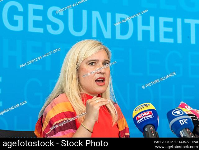 12 August 2020, Bavaria, Munich: Melanie Huml (CSU), Minister of State for Health and Care in Bavaria, will take part in a press conference on the current...