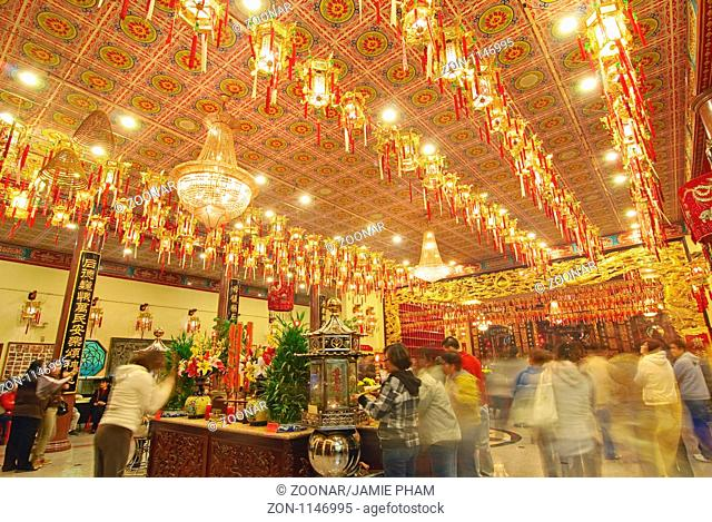 Interior of Thien Hau Temple, a Taoist Temple in Chinatown of Los Angeles