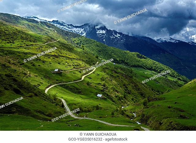 Valley of Lyse,national park of Pyrenees, Hautes Pyrenees, France