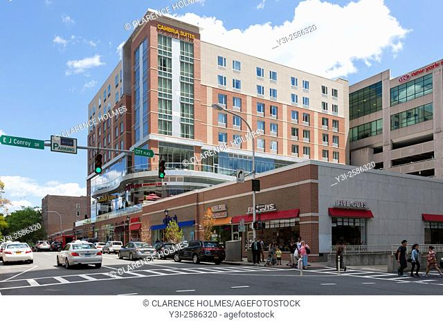 A view down Main Street towards the Cambria Suites mixed-use development in downtown White Plains, New York