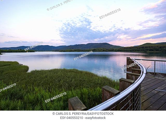 Landscape of Lake Banolas (Banyoles in the Catalan language) in the province of Gerona in the autonomous community of Catalonia in Spain Europe
